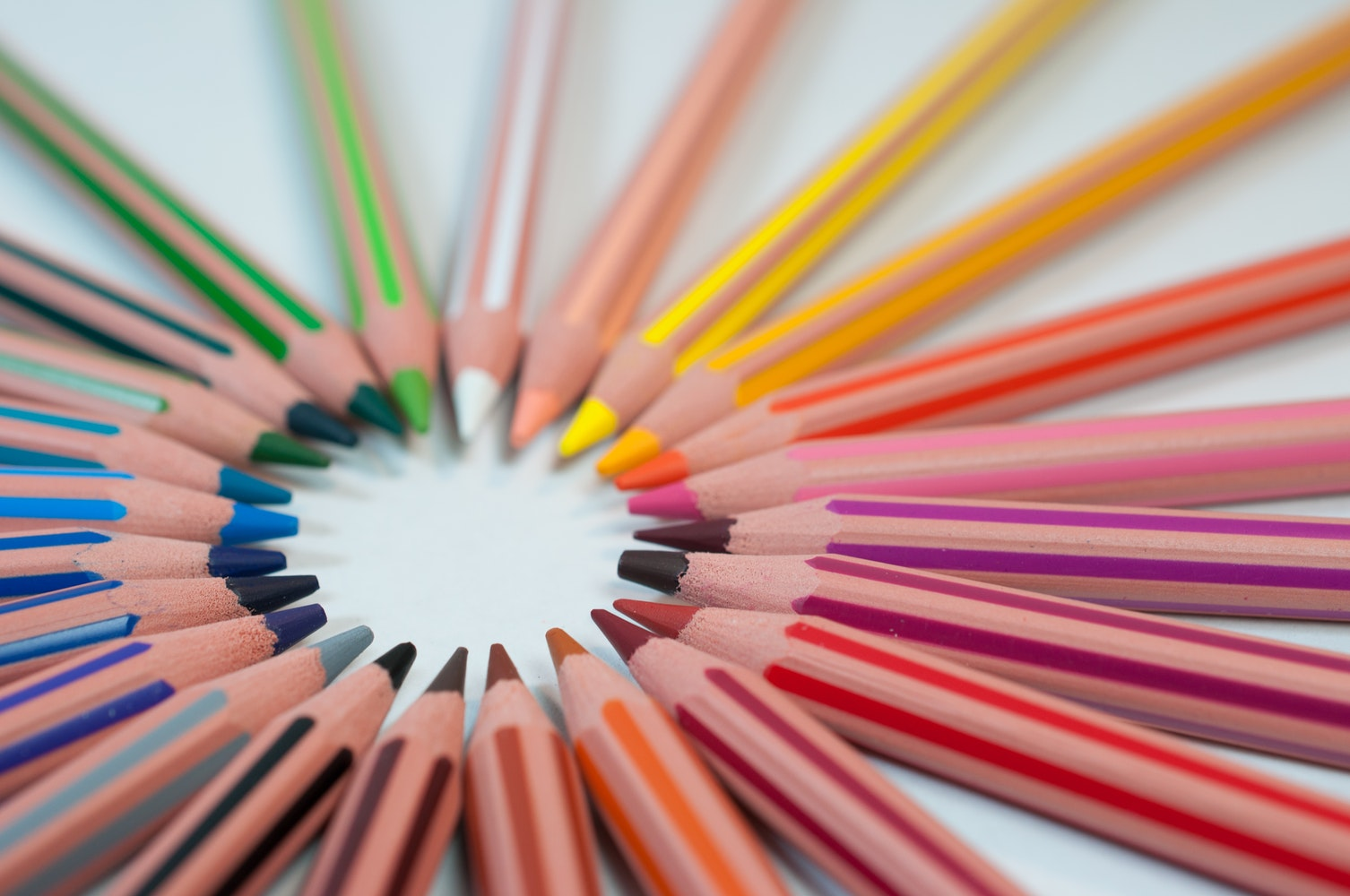 Set of colored pencils in a circle