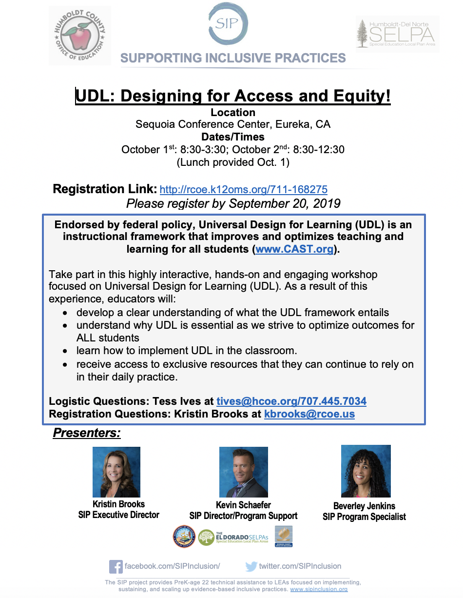UDL: Designing for Access and Equity!