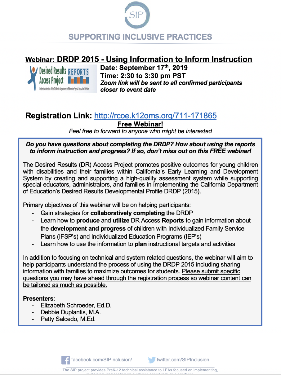 DRDP 2015 - Using Information to Inform Instruction: A Webinar