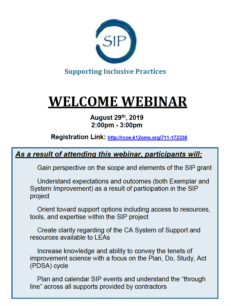 SIP Grantee Welcome Webinar