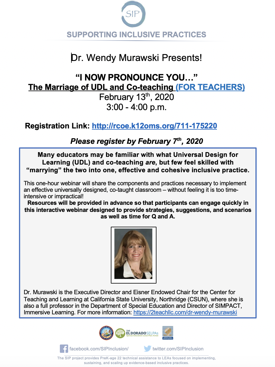 I Now Pronounce You...the Marriage of UDL and Co-Teaching (For Teachers): A Webinar