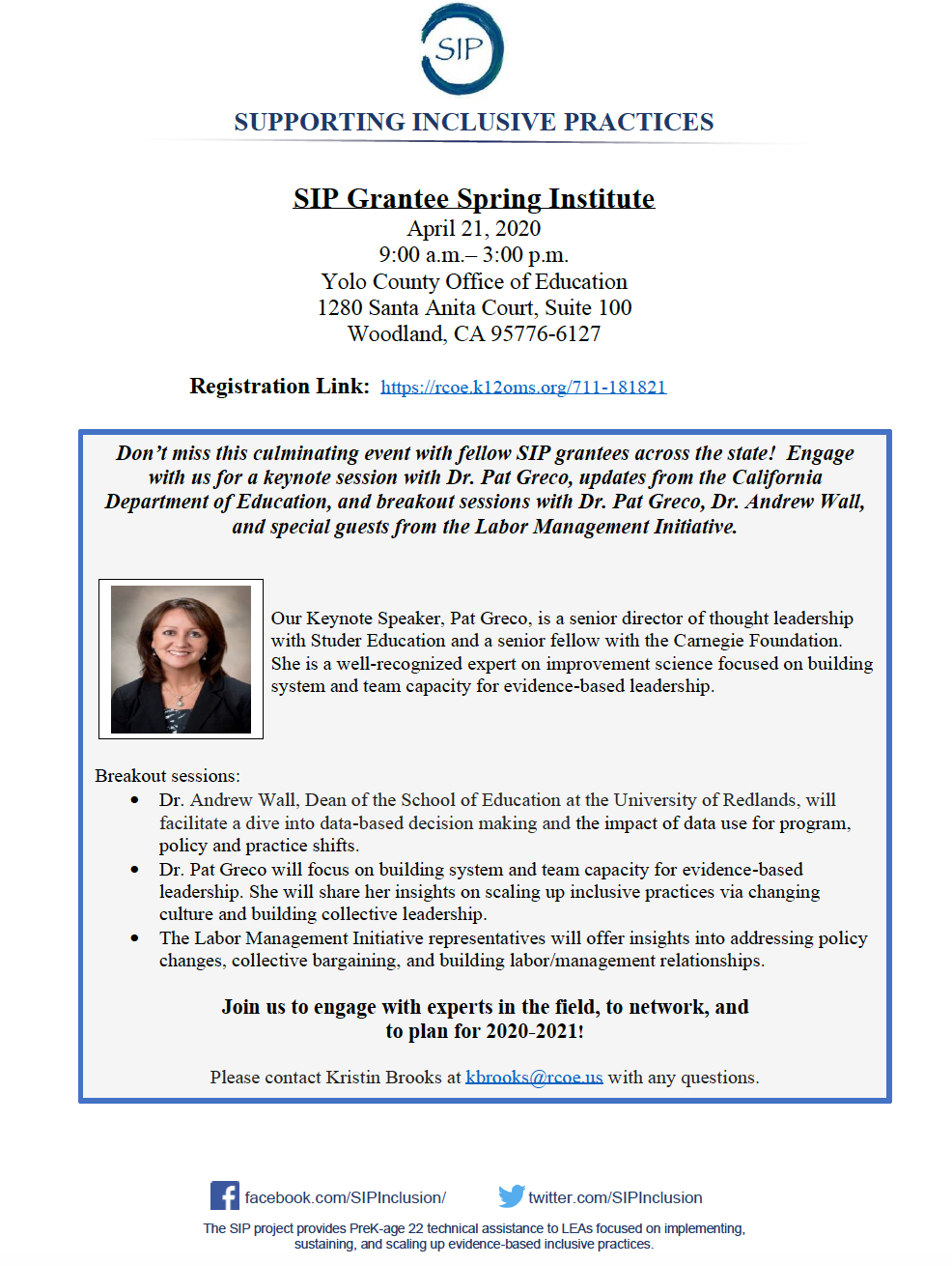 VIRTUAL EVENT: SIP Grantee Spring Institute