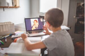 Child on zoom meeting
